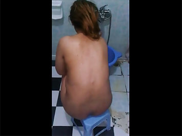 Nude Indian Wife Taking Shower