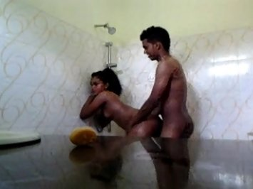 Srilankan Young Couple Sex In Shower